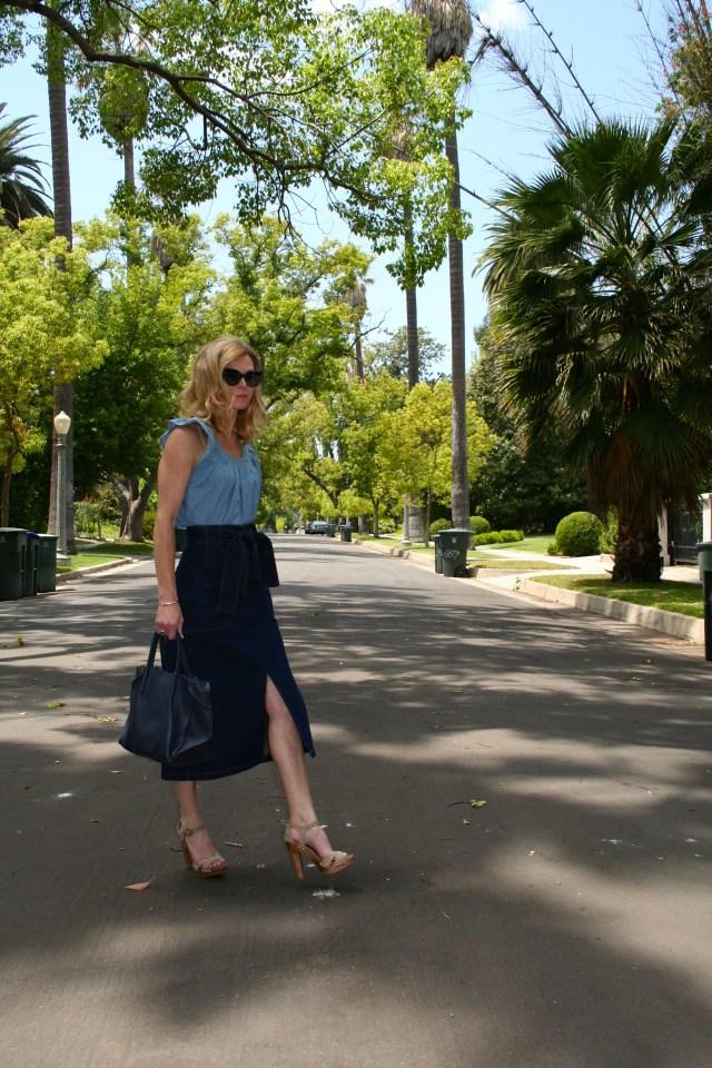 denim top and skirt