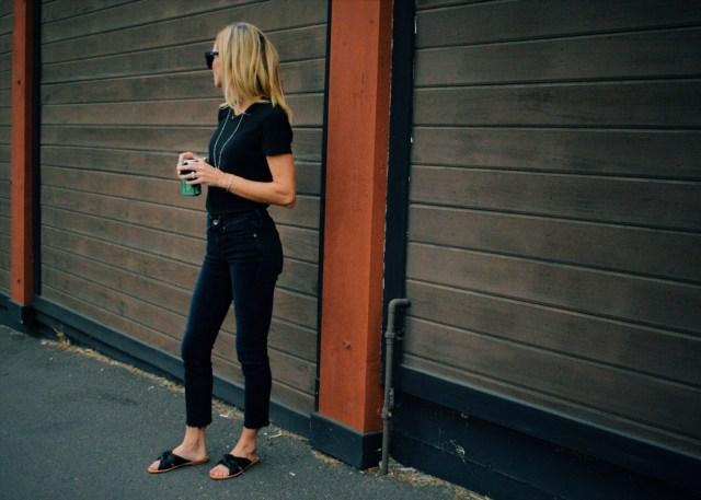 black jeans black tee