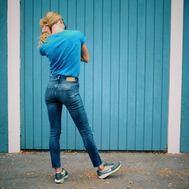 blue jeans and sneakers