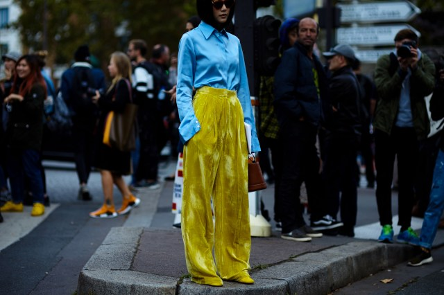 yellow velvet pants