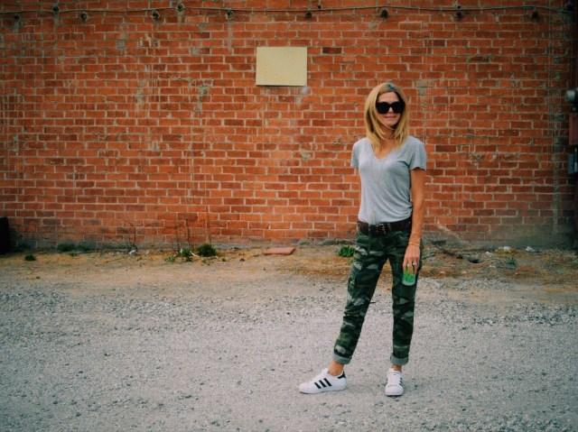 camo pants and tee