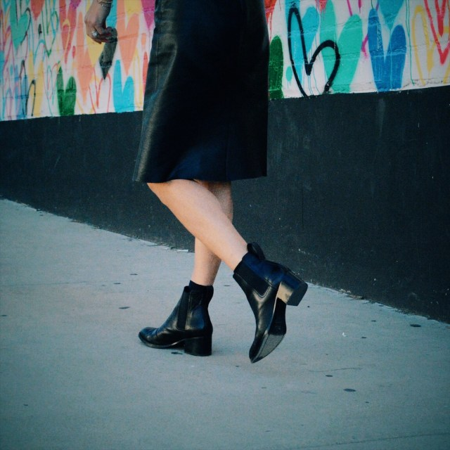 pencil skirt and ankle boots