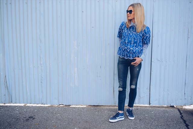 Blue and White Collared Shirt + Blue and White Top + Jeans + Blue Vans Sneakers
