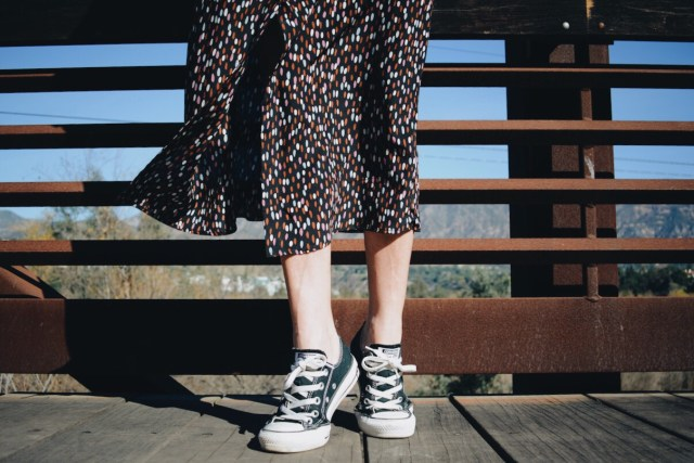 Midi Dress + Black Converse Sneakers