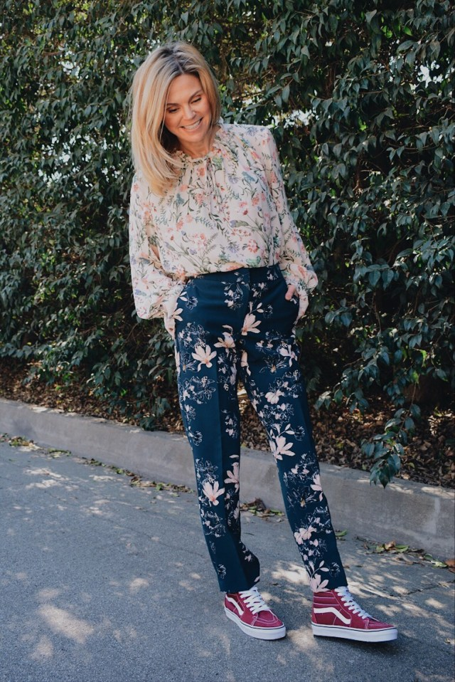 Pink Floral Long Sleeved Top + Blue Floral Pants + Sneakers