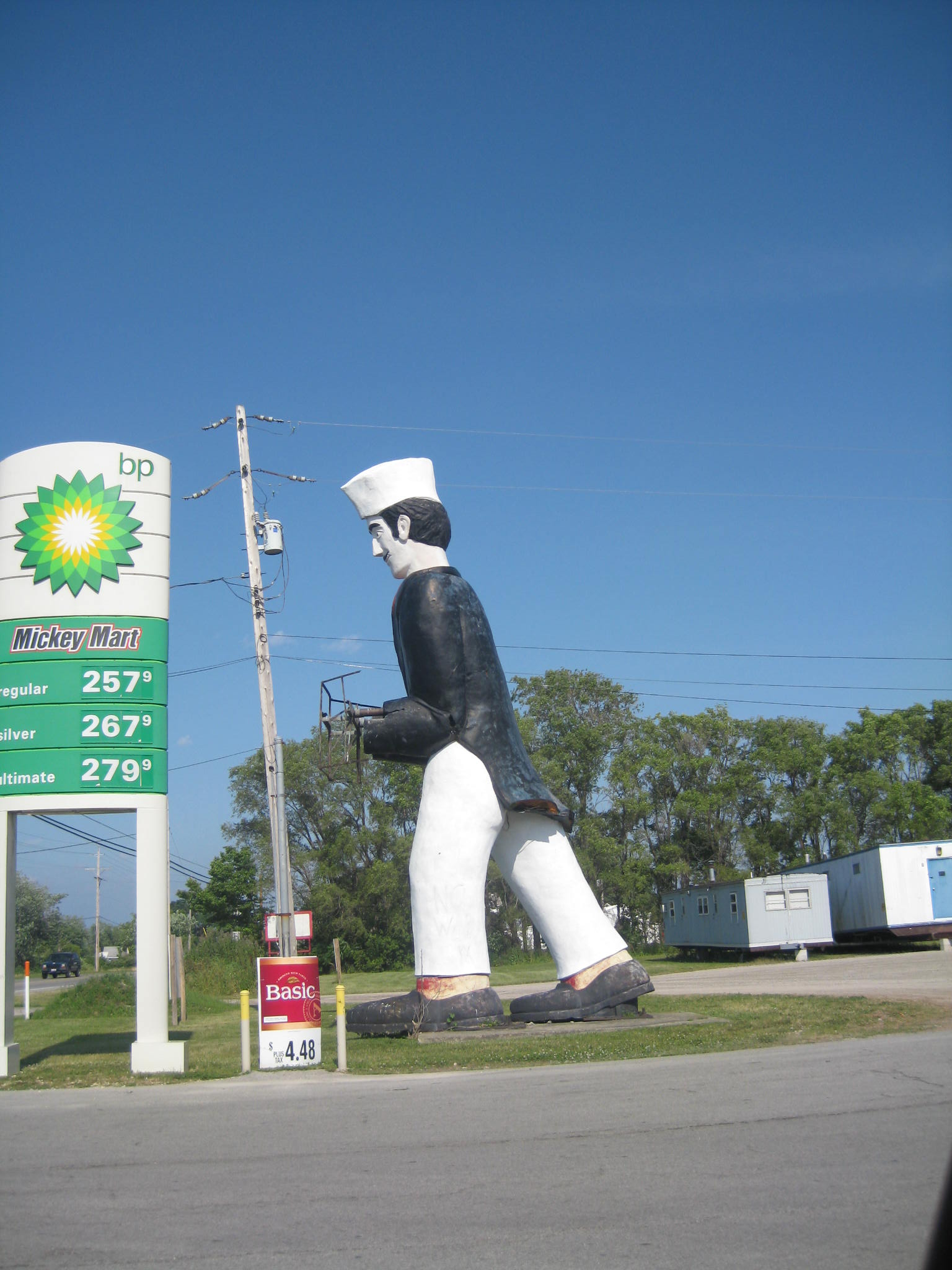 I have no idea what this is, but it stands next to a BP gas station and nothing else near East Harbor State Park, Ohio. The waiter (?) looked like he used to carry a tray.
