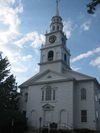 Middlebury Congregational Church in Middlebury, Vermont. Photograph taken in the warmer summer days.