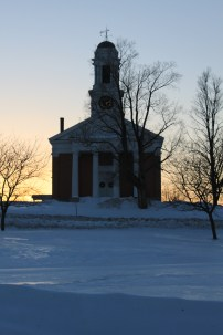 Shoreham Congregational Church in the Shoreham (Vermont) Village Historic District, which is listed in the State Register and eligible for inclusion in the National Register.
