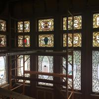 Stained glass windows in the UVM Alumni House. More photos coming soon! #presinpink