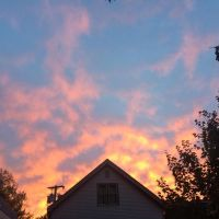 Sunrise over a gable in downtown Burlington. #presinpink
