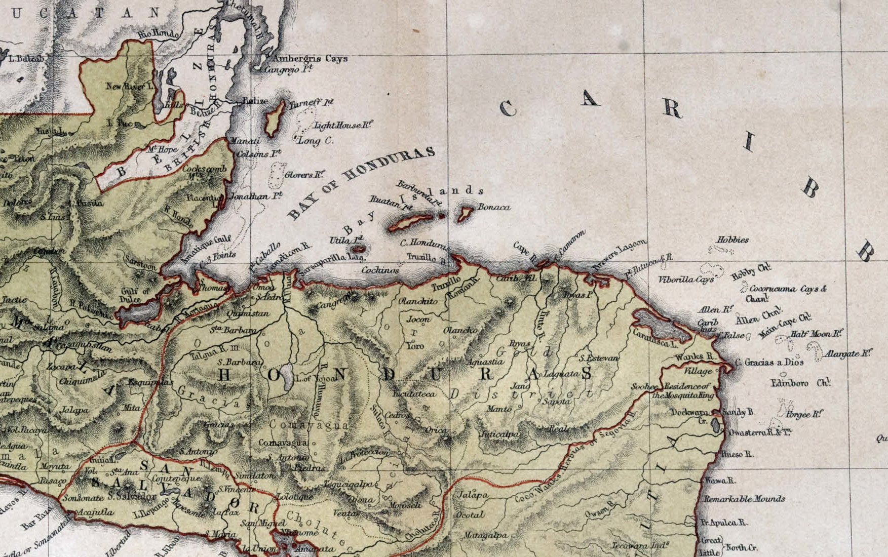 Old map of Central America, 1870