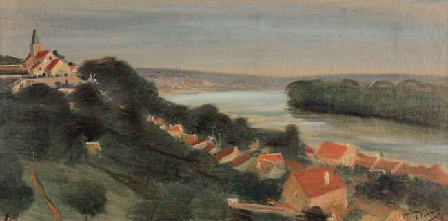 André Derain, Vue d'Herblay, Val-d'Oise, C.1936-38, Oil on canvas, 23 x 48 cm