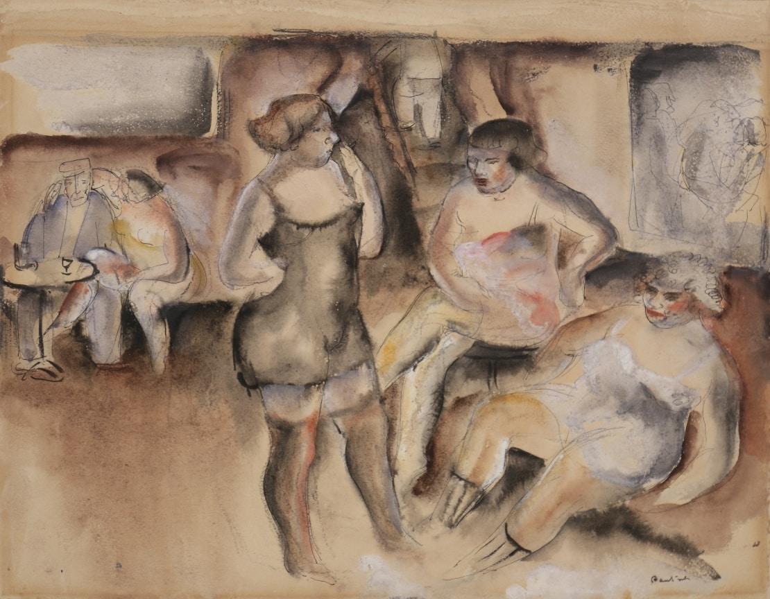 Jean FAUTRIER, Femmes au bordel, Aquarelle 22,5 x 30,5 cm