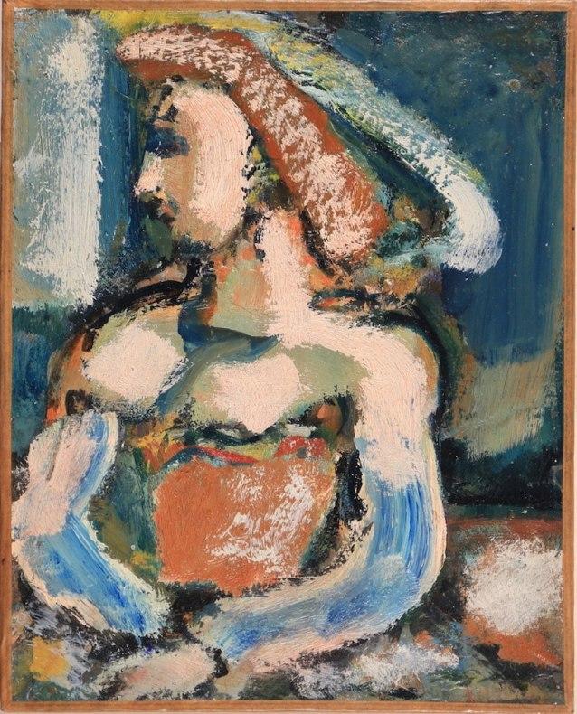 Georges Rouault, Dame au chapeau à plume, Oil on cardboard 25 x 20 cm
