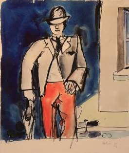 Jean Hélion Emile au parapluie Circa 1939 - 1943 Watercolor 29 x 24,5 cm