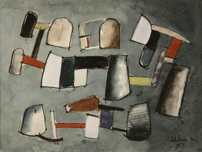 Jean Hélion Équilibre 1934 Aquarelle 24 x 32 cm VENDU