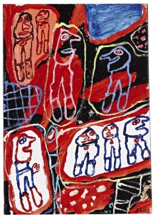 Jean Dubuffet, Site aux 8 Personnages, 1981, Acrylique sur toile, 51 x 32 cm