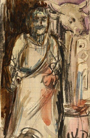 "Kees Van DONGEN,""Femme"",aquarelle 15 x 9,3 cm"
