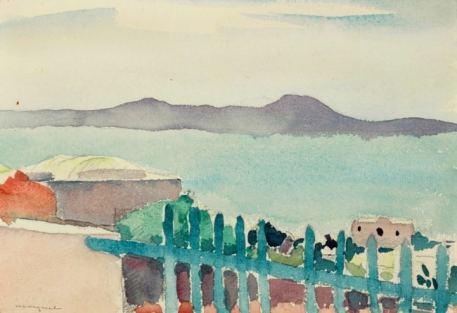 Albert Marquet Sidi Bou Saïd 1923 Aquarelle 17,8 x 24,1 cm VENDU