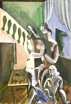 """Ossip ZADKINE, """"Trois nues dans un intérieur"""",1926 gouache et aquarelle, 77,5 x 53,3 cm"""