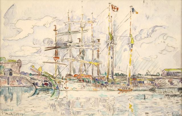 "Paul SIGNAC ""Saint-Malo"", 1927, Watercolor, 26,5 x 42 cm"