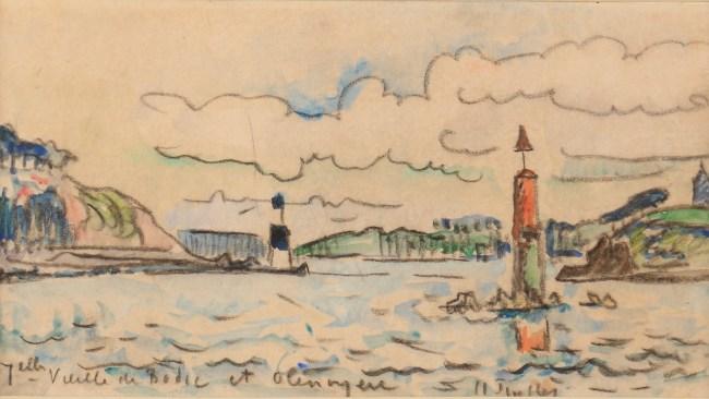 Paul Signac Le Trieux, les balises, Circa 1925, Aquarelle, 11,2 x 19,8 cm