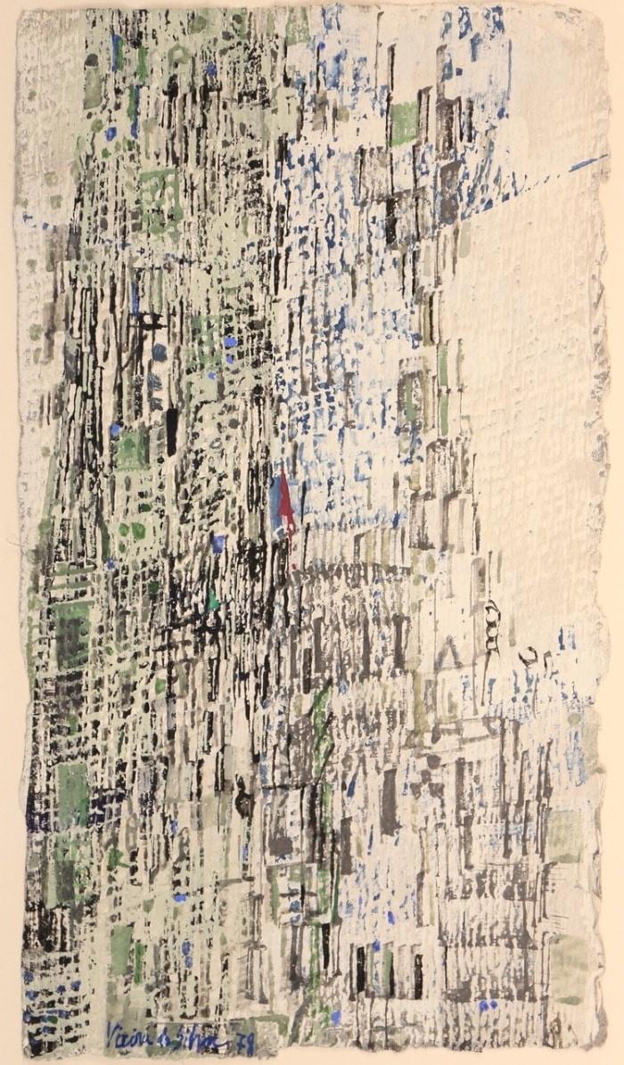 Maria Elena VIEIRA DA SILVA, Composition, 1978, Tempera 33,8 x 19,3 cm