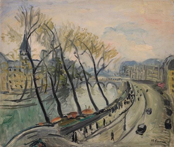 Charles Camoin Les quais de Paris Huile sur papier 46,5 x 55 cm, VENDU