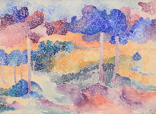 Henri-Edmond Cross, Les Pins, Watercolor