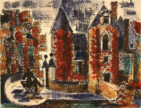 Marcel Gromaire, Les douves du château, Aquarelle