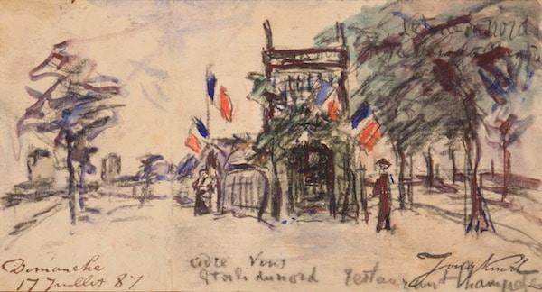 Johan-Barthold Jongkind L'étoile du Nord, restaurant champêtre à la porte d'Orléans 1887 Aquarelle 10,6 x 19,5 cm