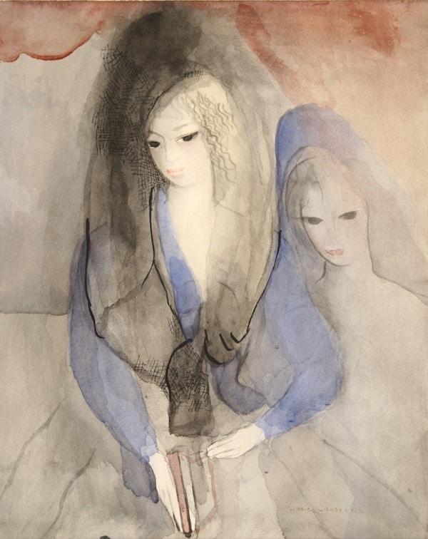 Marie Laurencin Deux jeunes filles Watercolor SOLD