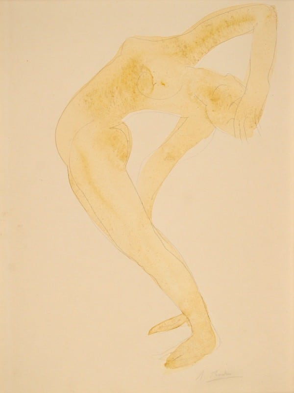 Auguste Rodin, Danseuse acrobate, Circa 1910, Aquarelle 32,6 x 25,4 cm
