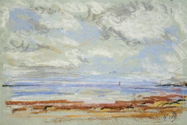 Eugène Boudin, Rivage, Pastel 14,5 x 21,5 cm
