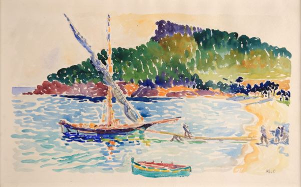 Henri-Edmond Cross Bateaux amarrés Watercolor, 29,5 x 46 cm