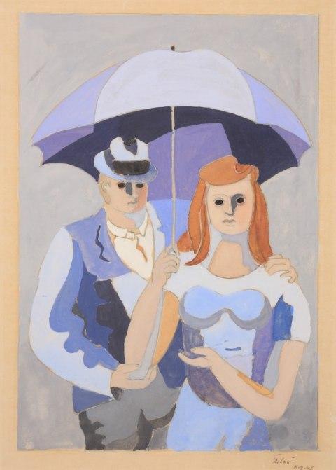 Œuvre de Jean Hélion disponible à la Galerie de la Présidence, Couple au parapluie, NY 1946, Gouache, 40 x 26 cm, Prix sur demande