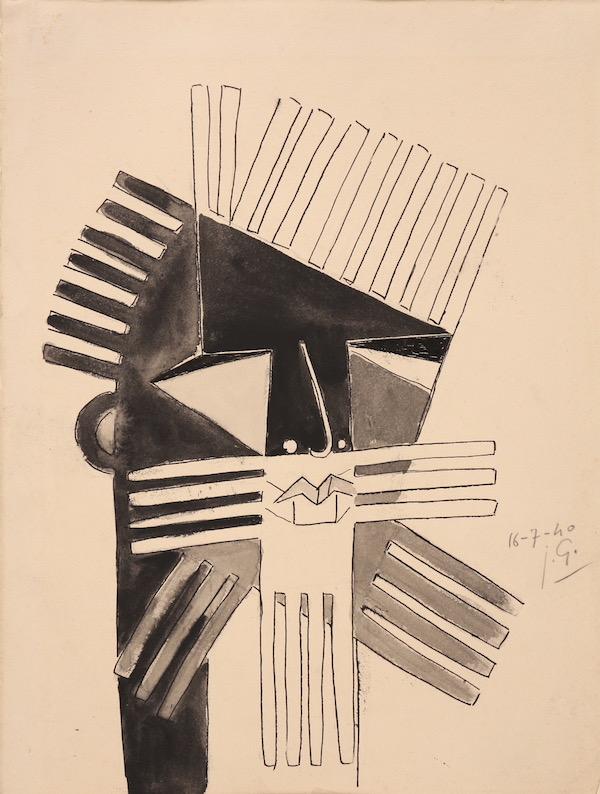 Julio Gonzalez Le Barbu 1940 Encre, 33 x 25,2 cm