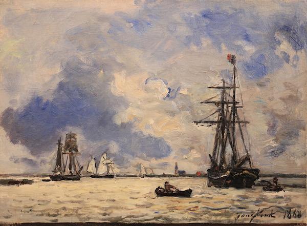 Johan-Barthold Jongkind, Sur l'Escaut, 1868, Oil on canvas, 24 x 32,5 cm, Œuvre à vendre