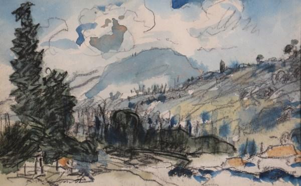 Johan-Barthold Jongkind, Vue sur la vallée prise au-dessus de Pupetières, Circa 1876, Fusain et aquarelle sur papier