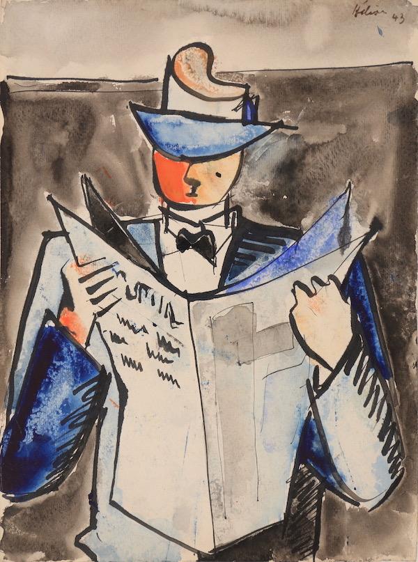 Jean Hélion, Journalier, 1943, Aquarelle 30,3 x 22,5 cm, Œuvre à vendre