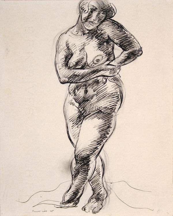 Jean Fautrier Nu debout 1925 Plume et encre 28 x 22 cm
