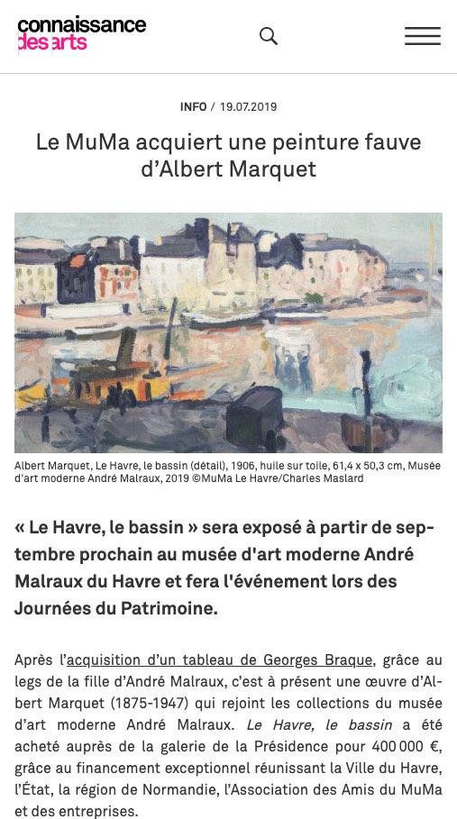 Connaissance des Arts, juillet 2019, Le MuMa acquiert une peinture fauve d'Albert Marquet