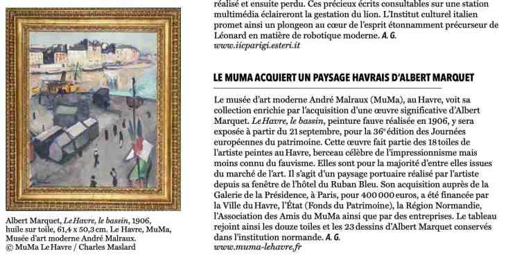 The Art Newspaper Daily : Le MuMa acquiert un paysage havrais d'Albert Marquet, September 13, 2019