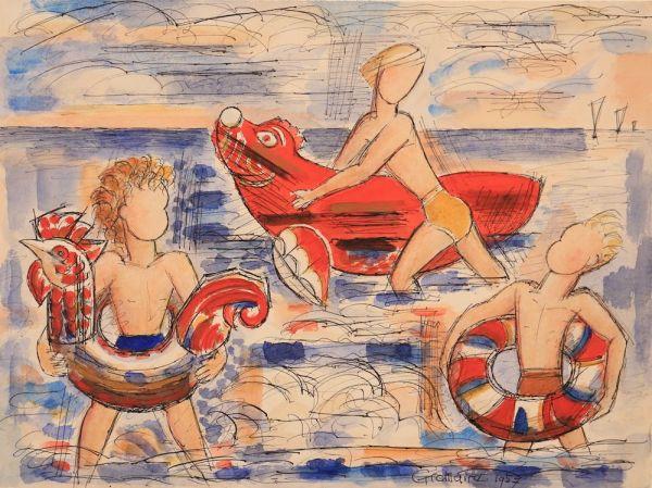 Marcel Gromaire, Ses trois petits enfants, 1957, Watercolor, 32,5 x 43,5 cm