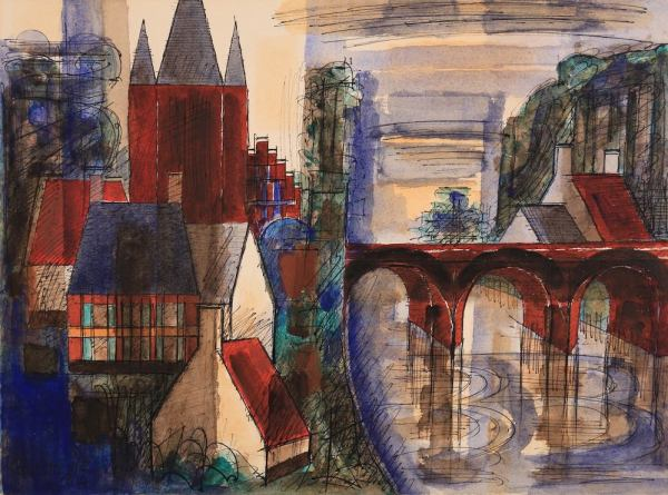 Marcel Gromaire, Village du Hainaut, 1954, Watercolor, 33 x 43,5 cm