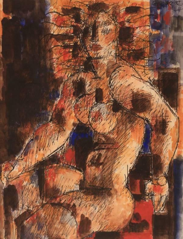 Marcel Gromaire, Femme nue assise dans un fauteuil, 1944, Watercolor, 32,5 x 25 cm