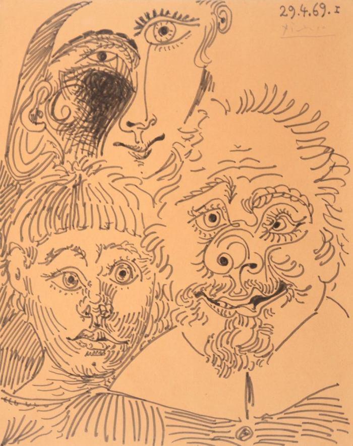 Pablo Picasso, Trois têtes, 1969, Feutre, 27 x 21,5 cm