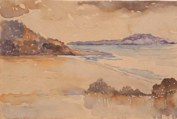 Henri-Edmond Cross, Arbres et buissons au bord de la Méditerranée, Aquarelle, 18 x 27 cm