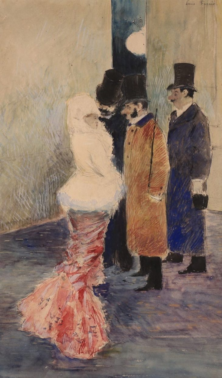 Jean-Louis Forain, L'Aparté, Circa 1878-1879, Watercolor and gouache on paper, 45,5 x 28 cm, Signed upper right