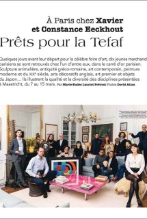"Article in the magazine Point de Vue titled ""Prêts pour la Tefaf"". On the picture with parmi 10 art dealers, Florence Chibret-Plaussu is presenting a work by Sonia Delaunay : Rythme couleur"